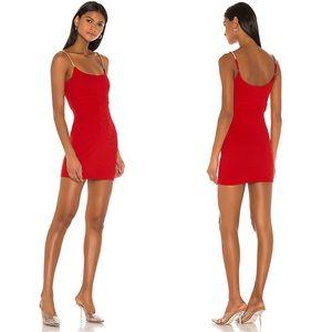 NBD Leon Rib Knit Mini Dress in Red